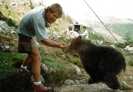 "Training of Bart and Youk for the movie ""The Bear"" in San Vigilio, Italy."