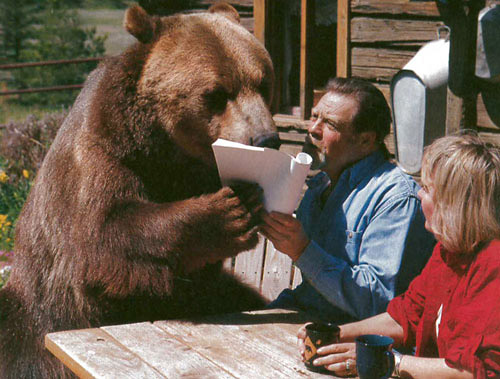"""""""Tank, the 800-Ib., 7-ft. tall grizzly who stars with Eddie Murphy in Dr. DoLittle 2, knows how to throw his weight around. The 6-year-old rookie actor demanded more than just a studio parking space: He nabbed an entire lot, freshly sodded and complete with wading pool. During the film's five-month shoot, Tank snacked on roast beef, pasta with pesto sauce and strawberry smoothies, not to mention Ben & Jerry's ice cream – Cherry Garcia, natch. 'Not too much,' says his co-trainer Lynne Seus, 55. """"But Tank was happy to have a pint a day."""" Tank clawed his way to the top, besting more than 50 competitors to play Dolittle 2's performing bear Archie, who scrubs himself in a bathtub, eats popcorn while watching TV and toasts marshmallows around a campfire with Murphy. 'He has a playful personality and a great sense of humor,' says Doug Seus, 58, who has trained animals for movies and commercials for 209 years. 'He handled everything like a pro.' The Seuses are hoping Tank will follow in the paw prints of Bart, their 1,800-Ib. grizzly bear who died of cancer last year at age 24 after wowing critics in eight films, including The Bear and Legends of the Fall. They've been grooming Tank since adopting him from a Wisconsin breeder as a 6-week-old cub. 'We fed him, we loved him, we played with him,' says Doug, 'just like you would a child.' No fan of the Hollywood scene, Tank is happiest at home in Heber City, Utah, where he romps in a nearby creek and downs 30 lbs of apples, carrots, roast chicken and salmon a day. 'As long as Tank can wrestle with me and eat,' says Doug, 'he's pretty much happy.' """" -People magazine, July 16, 2001"""